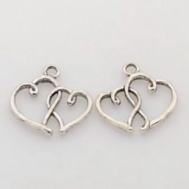 Lot de 10 breloques pendentifs coeur double