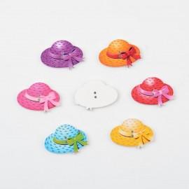 lot de 6 boutons en bois 22 mm chapeau