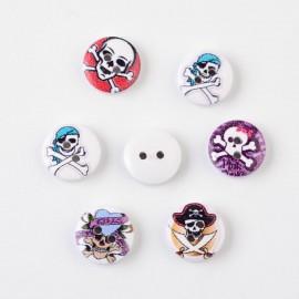 lot de 6 boutons en bois 15 mm tete de mort pirate