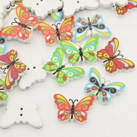 lot de 6 boutons en bois 24 mm papillon