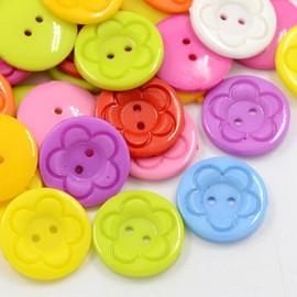 lot 20 boutons 23 mm fleur rond 2 trous