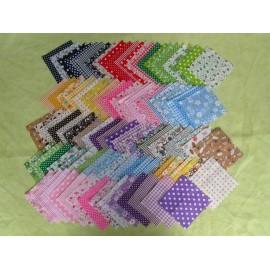 Lot de 100 coupons tissu coton 10 x 10 cm