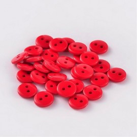lot 50 boutons rouge 11.5 mm 2 trous