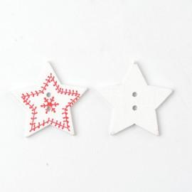 lot de 6 boutons en bois 30 mm étoile