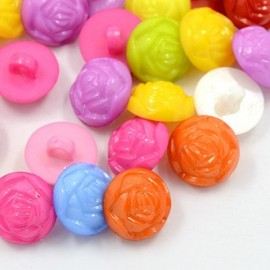 """lot 50 boutons fleur """"rose""""shank 14 mm 1 trous"""