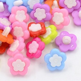 lot 20 boutons fleur centre blanc 14 mm shank
