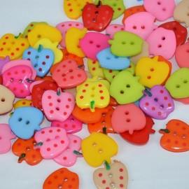 lot 20 boutons 20 mm fraise 2 trous