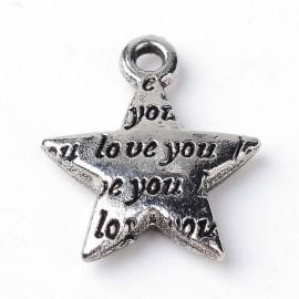 """Lot de 10 breloques pendentifs """"étoile love you"""""""