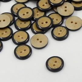 lot 20 boutons en bois et noir 12.5 mm