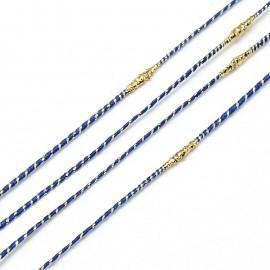 cordon nylon métallique bleu