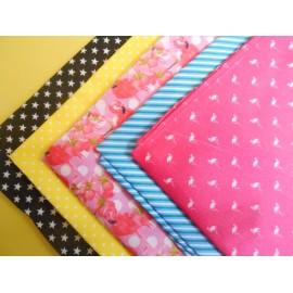 Lot de 5 coupons tissu coton 50 x 50 cm