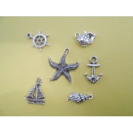 Lot de 6 breloques pendentifs thème mer