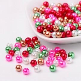PERLES EN VERRE NACREES ROSE ROUGE
