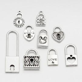 Lot de 10 breloques pendentifs thème cadenas