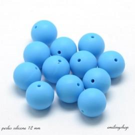 lot de 10 perles en silicone enfant attache tétine bleu