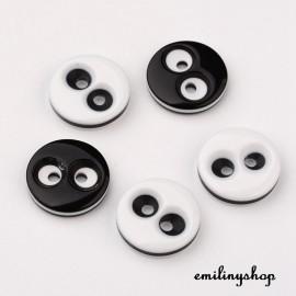 lot 20 boutons noir et blanc 12 mm 2 trous