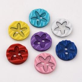 lot 20 boutons étoile 15 mm 2 trous