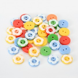 lot 20 boutons 13mm fleur bi color 2 trous