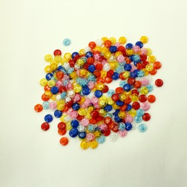 lot 20 boutons 14 mm multicolore fleur translucide 2 trous