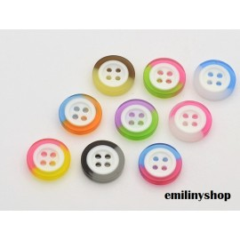 lot 20 boutons 13 mm translucide multicolore 4 trous