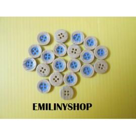lot 20 boutons en imitation bois et bleu 12 mm