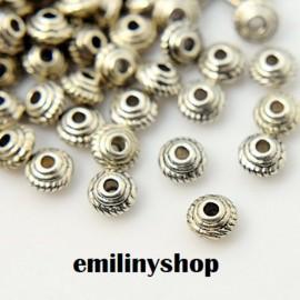 lot 50 perles entretoise intercalaire liserais gris argent apprêt bijoux 4 mm