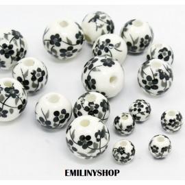 lot de 10 perles céramique blanc fleur noir
