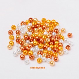 PERLES EN VERRE NACREES ORANGE