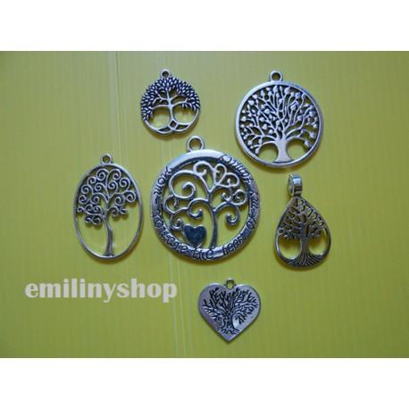 Lot de 6 breloques pendentifs thème arbre de vie