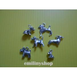 Lot de 6 breloques pendentifs thème chien