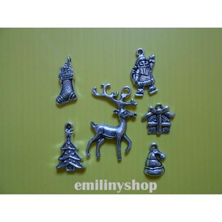 Lot de 6 breloques pendentifs thème noel