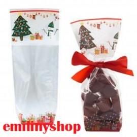 lot de 10 sachets sacs noel 100x220 bonbon confiserie accessoire