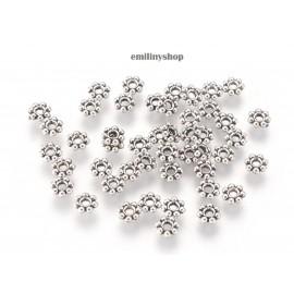 lot 50 perles entretoise intercalaire fleur gris argent apprêt bijoux 5 mm