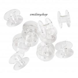 lot 10 bobines canette transparent en plastique fil de machine à coudre canettes