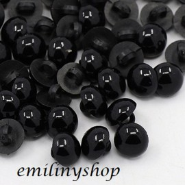 lot 20 boutons 12 mm dome demi perle noir