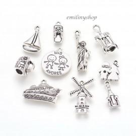 lot de 10 breloques charms pendentifs perle scrap thème voyage NEUF