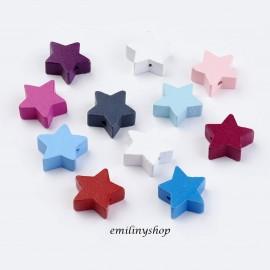 lot de 5 boutons étoile bois 20 mm