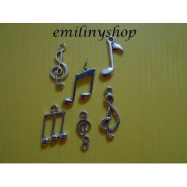 Lot de 6 breloques pendentifs thème note de musique