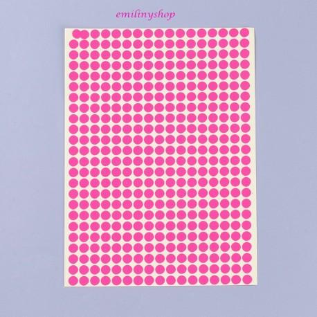 Lot de 408 gommettes étiquettes autocollantes rondes rose 6 mm