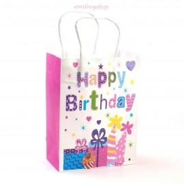 1 sac cadeau carton sachet fantaisie joyeux anniversaire happy birthaday