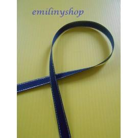 ruban coton bleu marine argenté