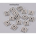 lot 50 perles entretoise intercalaire carré gris argent apprêt bijoux 7 mm