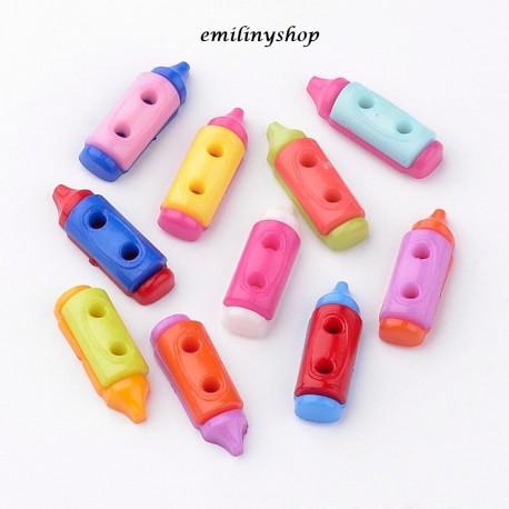 lot 20 boutons crayon 20 mm 2 trous