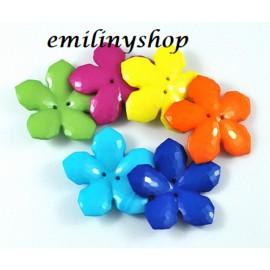 lot de 5 gros boutons fleur 40 mm 2 trous couture mercerie accessoire ... NEUF