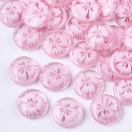 lot 20 boutons translucide fleur rose 14 mm