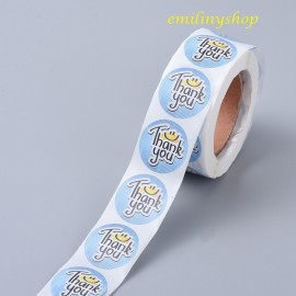 lot 50 étiquettes stickers merci thank you bleu smiley
