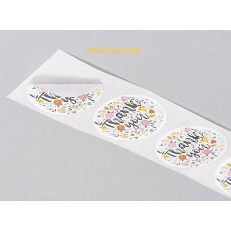 lot 50 étiquettes stickers merci thank you fleur saison