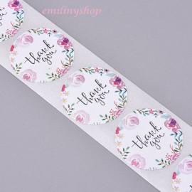 lot 50 étiquettes stickers merci thank you fleur rose