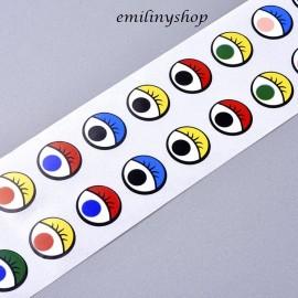 lot 50 paires etiquettes stickers yeux oeil multicolores