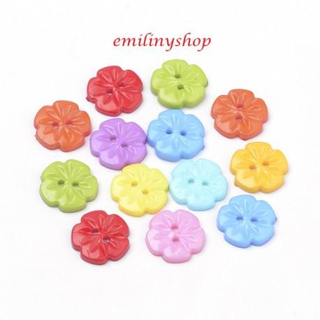 lot 20 boutons 14 mm fleur ond